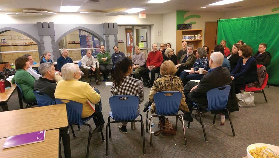 MEMBERS OF THE City Council invited leaders of the City's volunteer boards and commissions to offer insights and suggestions on future plans at the Council's planning retreat at the Jefferson Elementary School library Saturday.. (Photo: City of Falls Church)