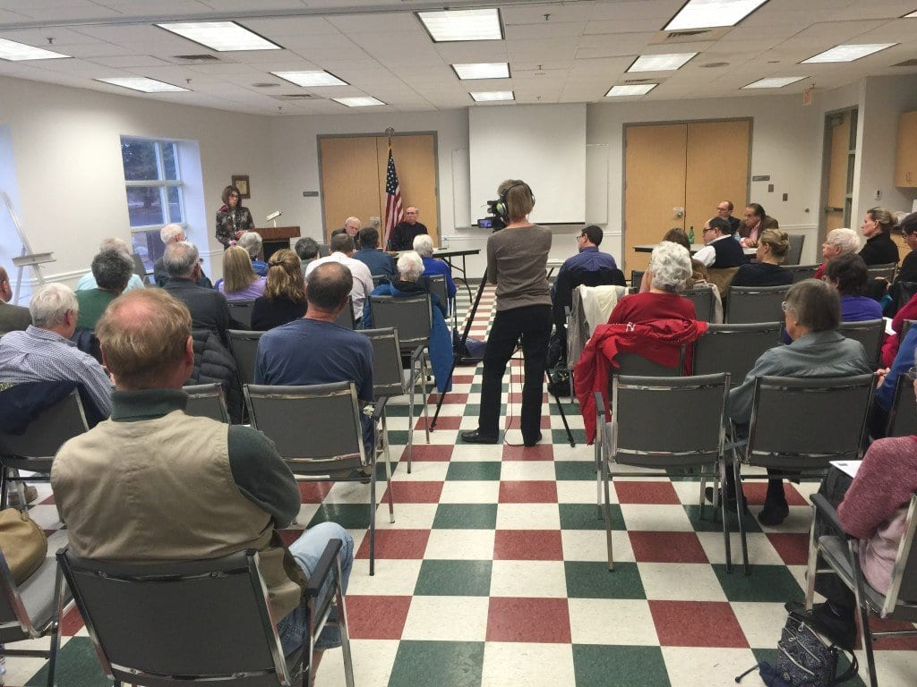 A PANEL OF FOUR held forth in the forum on revenue generation sponsored by the Falls Church League of Women Voters at the Community Center on Sunday. (Photo: News-Press).
