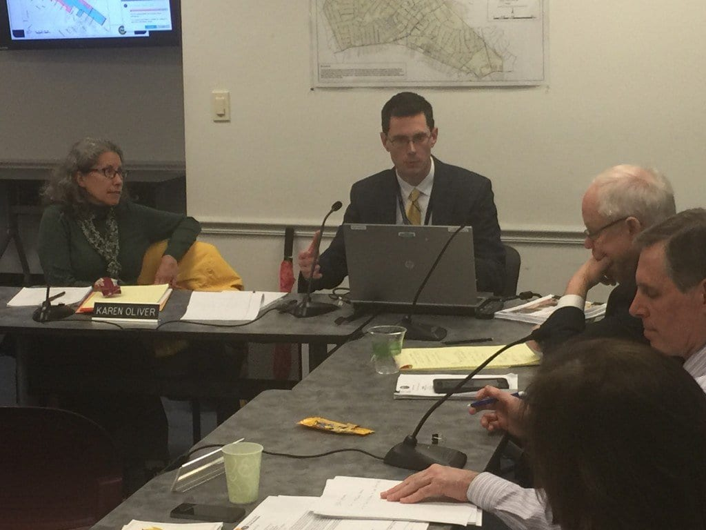PAUL STODDARD, principal planner for the City of Falls Church, shown here briefing the City Council prior to a subsequent appearance before the Planning Commission Tuesday night. (Photo: News-Press)