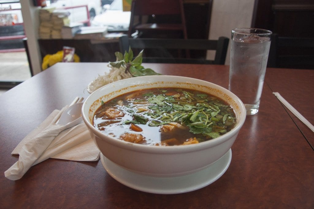 The Hue's Spicy Noodle Soup at Nhà Hàng Chay is good, but isn't as spicy as the same dish at other restaurants. (Photo: Drew Cosltey/News-Press)