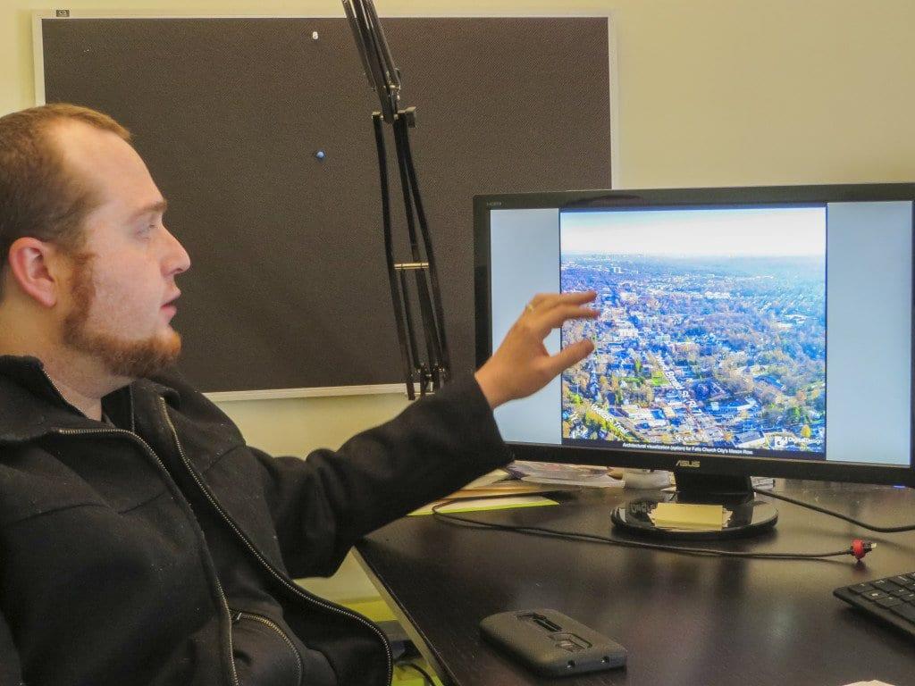 Shuler explains how aerial cameras work to capture scenes below. (Photo: Patricia Leslie/News-Press)