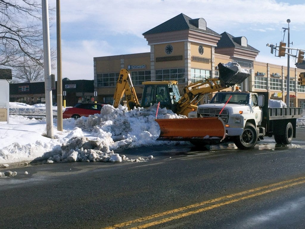 ONE OF FALLS CHURCH'S NEW TRUCKS helping with snow removal in the City Wednesday. (Photo: News-Press)