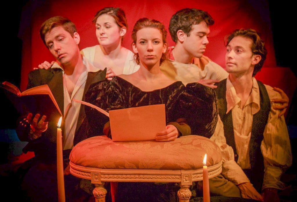 """Sam Ludwig, Catherine Purcell, Caitlin Shea, David Landstrom and Alan Naylor perform a scene from """"Monster of the Villa Diodati."""" (Photo: Coutesy of Keith Waters, Kx Photography)"""