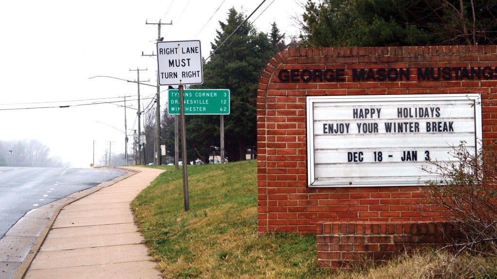 """The manual brick sign that stands on Route 7 in front of GMHS. The sign is outdated and infrequently updated. """"Nobody uses it. It's kind of a waste of space,"""" said Alice Castillo, sophomore. (Photo: Eva Ellis)"""