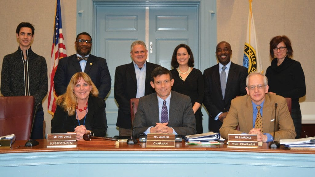 The Falls Church School Board reelected Justin Castillo as Chair and John Lawrence as Vice Chair for 2016. Pictured (front, l to r) Dr. Toni Jones, Superintendent, Justin Castillo, Chair and John Lawrence, Vice Chair. (rear) Dorian Charpentier, Student Representative, and Board Members Lawrence Webb, Phil Reitinger, Erin Gill, Michael Ankuma, and Margaret Ward. (Photo: Falls Church City Public School)