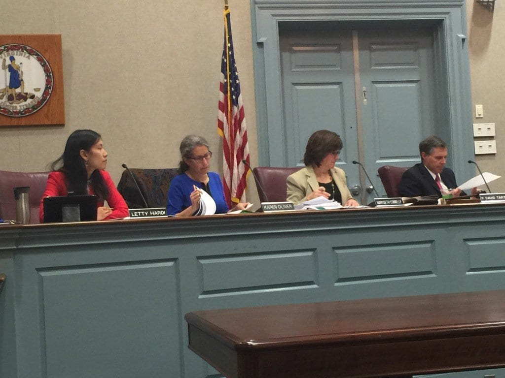 NEWLY SEATED Falls Church City Council member Letti Hardi (far left) joined (left to right) Karen Oliver, newly-elected Vice Mayor Mary Beth Connelly and re-elected Mayor David Tarter on the Council dais Monday night. (Photo: News-Press)