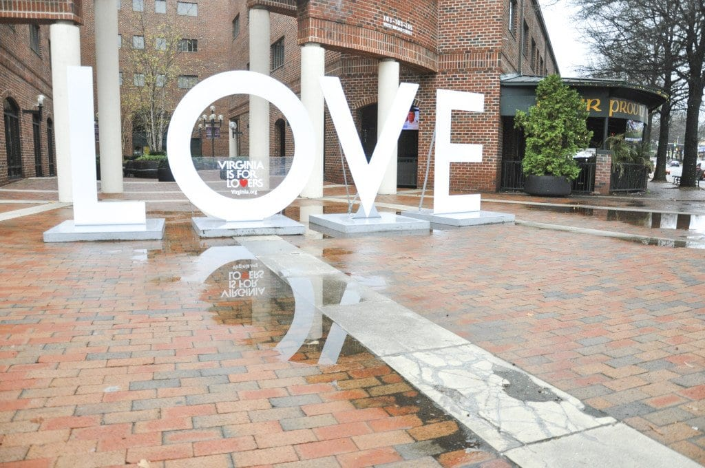 For the second year running, the Virginia Tourism Office's LOVE sculpture, shown above, will be on display during Watch Night. (Photo: Drew Costley)