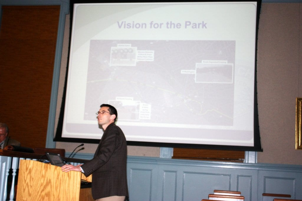 F.C. PRINCIPAL PLANNER Paul Stoddard detailed to the Planning Commission earlier this month his Planning Department's draft master plan for upgrading the part of the W&OD Trail that runs through the City of F.C. (Photo: News-Press)