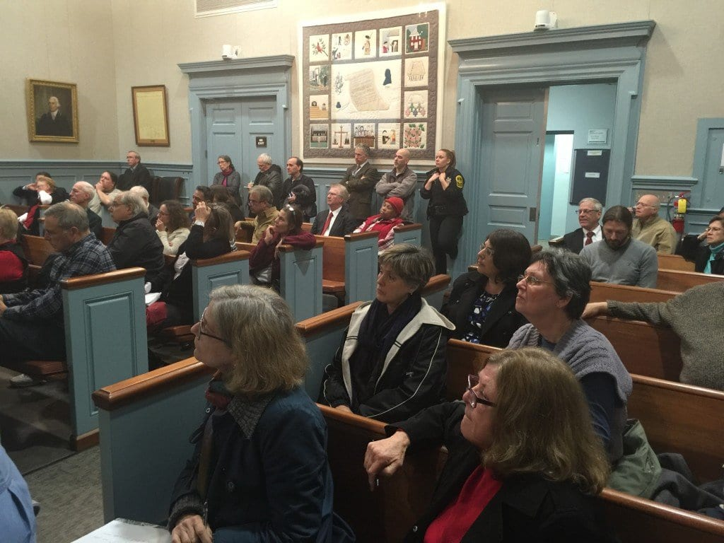 BIG TURNOUT at F.C. City Hall Wednesday night  for an update on changes in the Mason Row development plan. (Photo: News-Press)