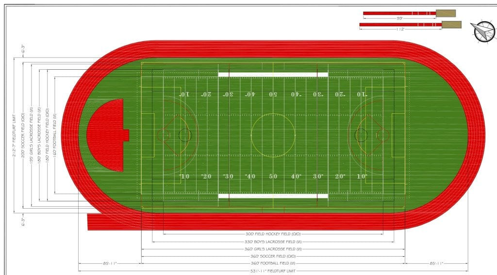 A potential design of the new turf and track. The lines on the turf will be redone and the track will be completely resurfaced and a bright red color. (Photo: Courtesy Tom Horn)