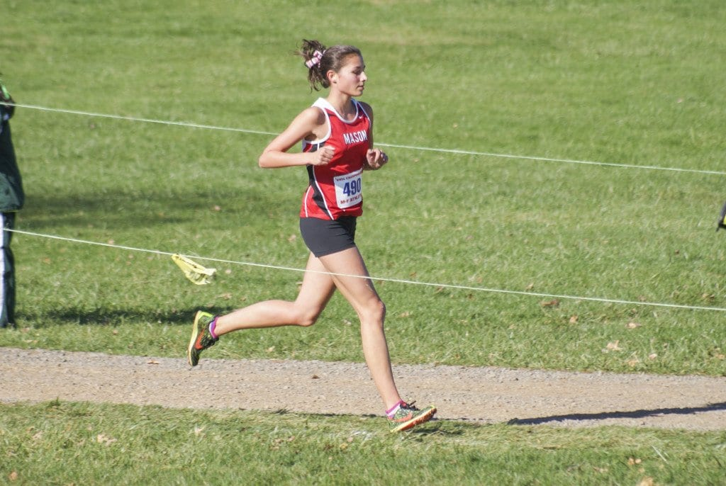 MASON'S ESTELLE TIMAR-WILCOX earned her second consecutive All-State honors at the 2A state meet. (Photo: Carol Sly)