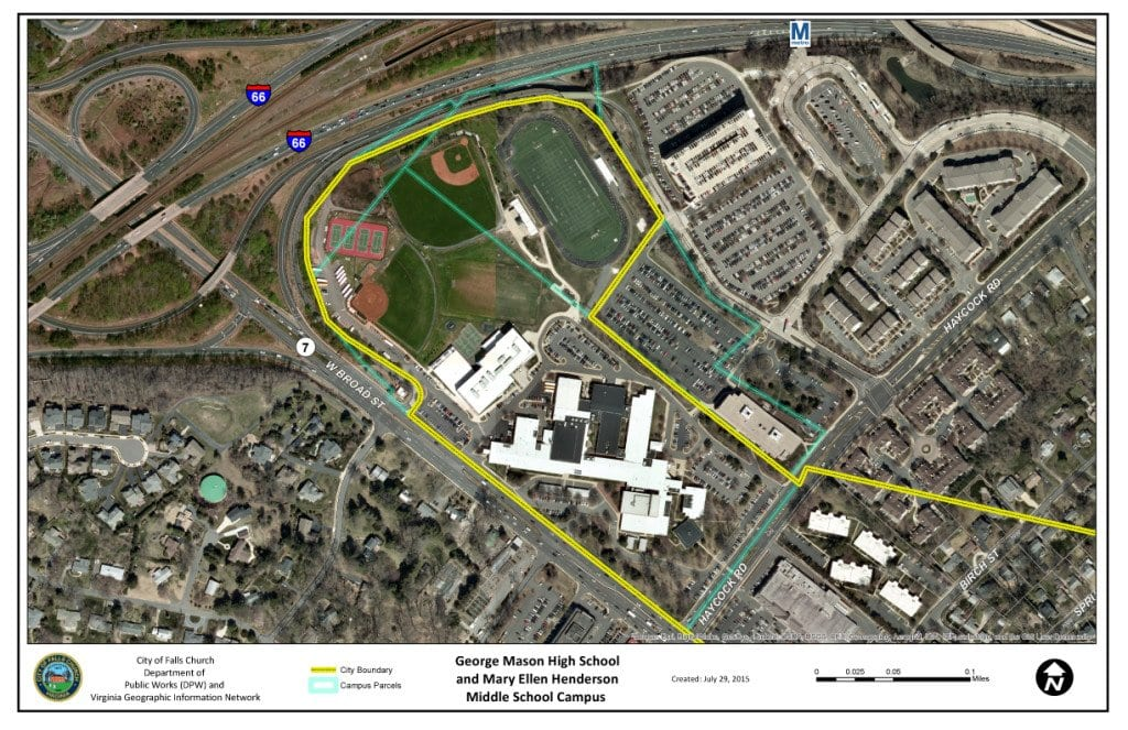 """THE 36 ACRES that were transferred from Fairfax County into the City of Falls Church last year (outlined in green) now have two developers who have formally submitted bids to redevelop the land, including the construction of a new high school and a renovation-expansion of the middle school, with 10 acres designated for economic development in the form of mixed use and commercial projects. The Falls Church City Council and School Board met for over three hours in a closed session Monday night to mull their next moves in what they've coined a """"Campus Redevelopment Project."""" (Photo: City of Falls Church)"""