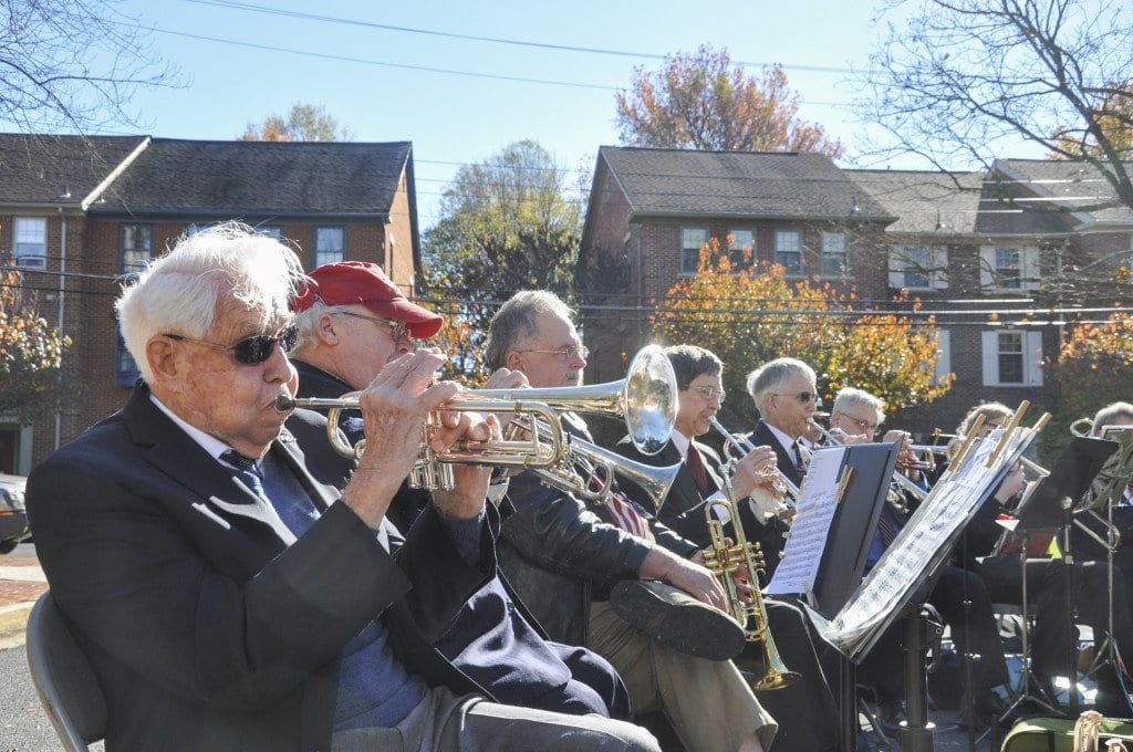 92-year-old Henry Carr, a trumpeter in the Falls Church Concert Band, is a military veteran who served for three years during World War II. Carr and the rest of The Falls Church Concert Band played at the City's Veterans Day Ceremony on Wednesday. (Photo: Drew Costley/News-Press)