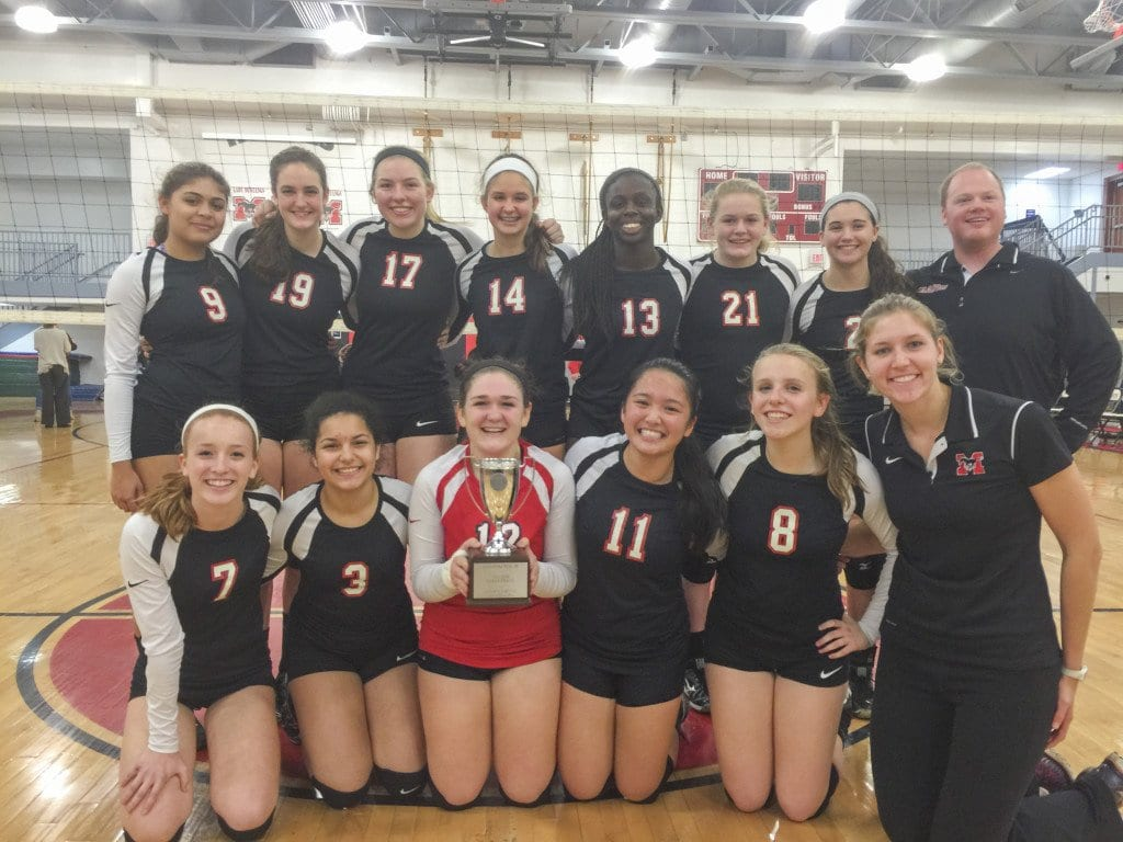Mason's varsity volleyball team won the Conference 35 tournament for the first time on Thursday, Nov. 5 before getting eliminated from the Region 2A East tournament on Tuesday. (Photo: Courtesy of Ty Byrd/FCCPS Photo)
