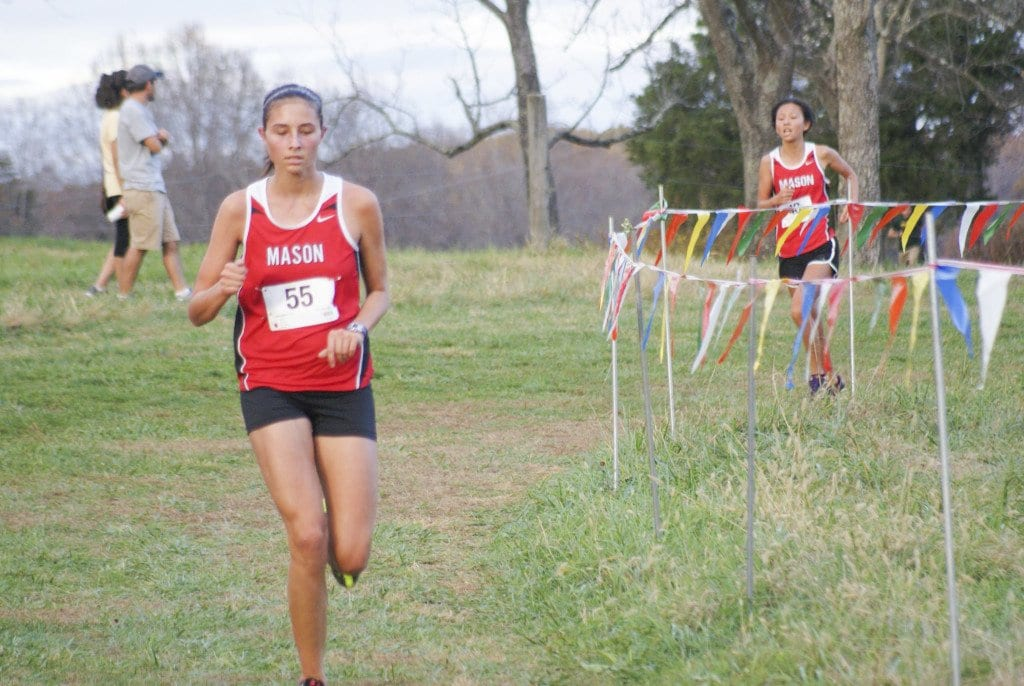 Mason's Estelle Timar-Wilcox  and Logan Funk worked together to earn All-Region honors. (Photo: Carol Sly)