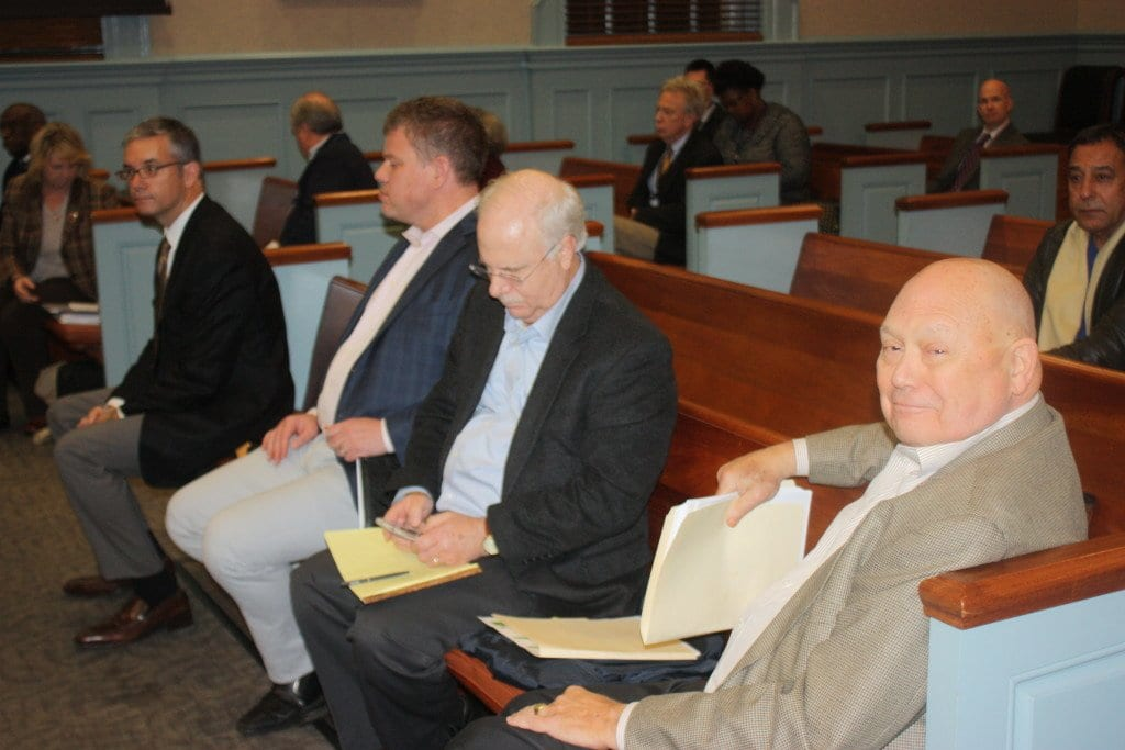 THE BRAIN TRUST of the Spectrum Development team who came before the F.C. City Council tonight to announce new concessions and details on their plans for the 4.3 acre project were in the front row at tonight's meeting awaiting the beginning of a lengthy work session. (Photo: News-Press).