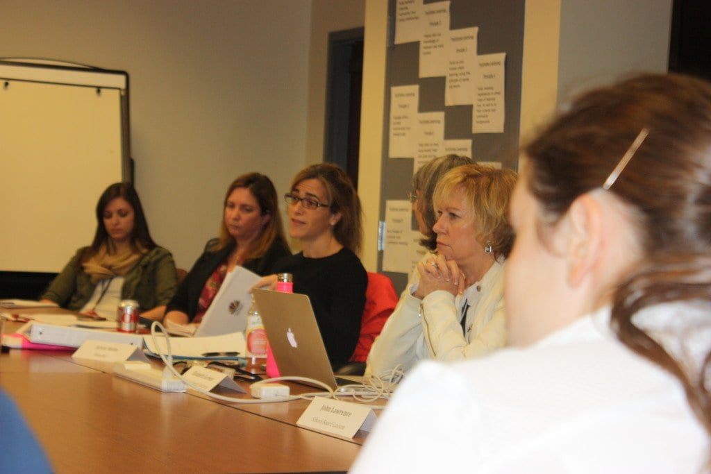 HILLARY CROCKETT (second from right) made the motion at Monday's meeting of the Falls Church Special Education Advisory Committee to request that the School Board remove Becky Smerdon, a candidate for the School Board in Tuesday's election, a motion that passed with six votes after almost two hours of discussion. (Photo: News-Press)