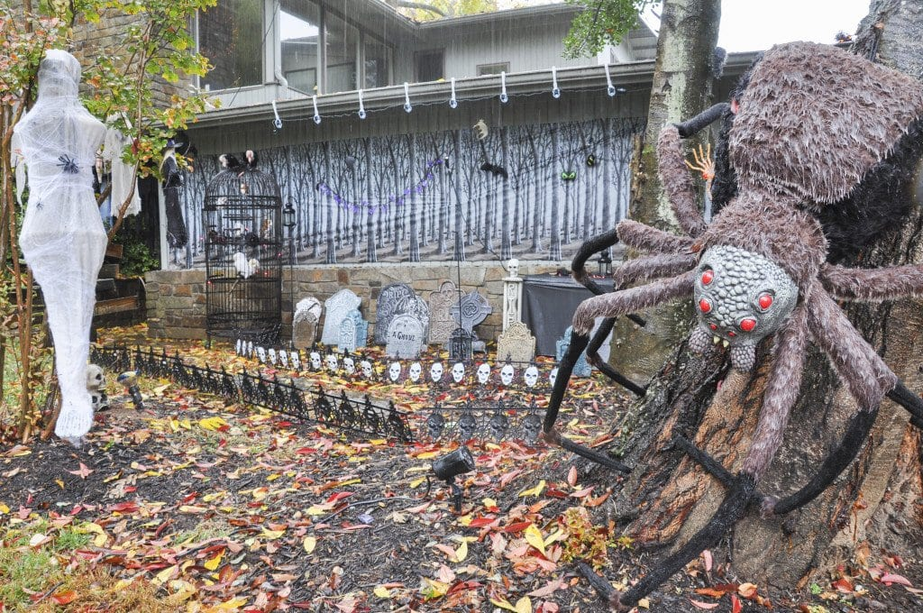 A large Aragog spider rests on one of the trees in the Forbidden Forest at the Devlins' house on Hemlock Drive. The Devlins are hosting a Hogwarts-themed haunted house  this weekend for Halloween. (Photo: Drew Costley/News-Press)