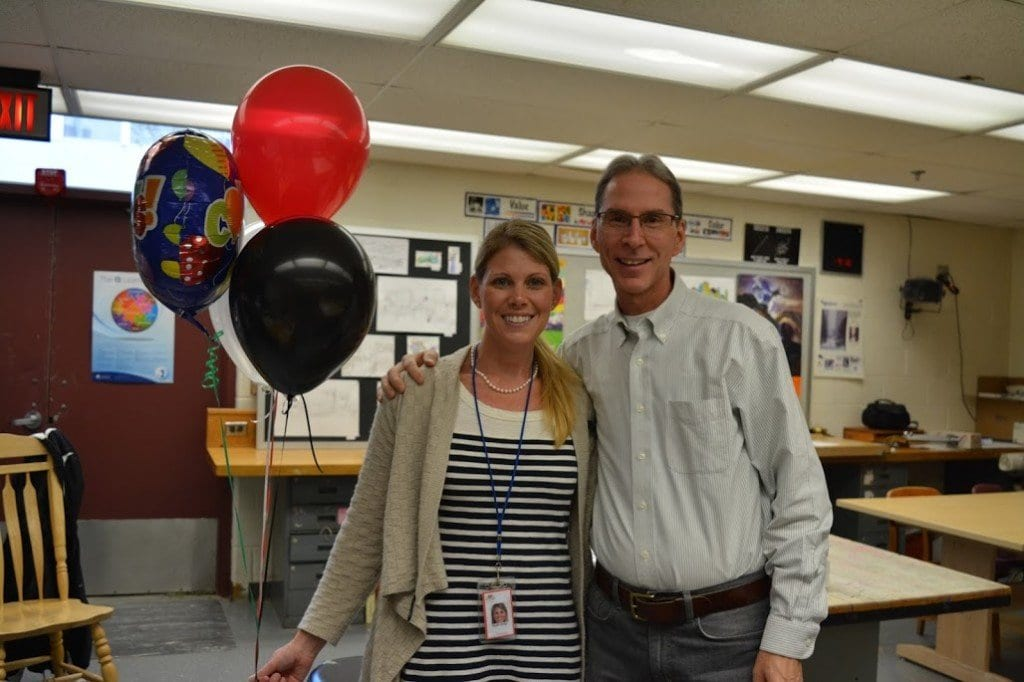 George Mason High School art teachers Sarah Gurgo and Marc Robarge received a $1,100 grant from the Falls Church Education Foundation for The Memory Project as part of the foundation's Super Grants program. (Photo: Courtesy of Marybeth Connelly/FCCPS Photo)