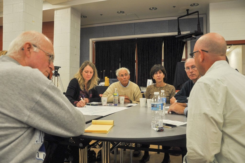 City residents discuss what they would like to see for the future of Falls Church's schools during breakout sessions at Saturday's forum. (Photo: Drew Costley/News-Press)