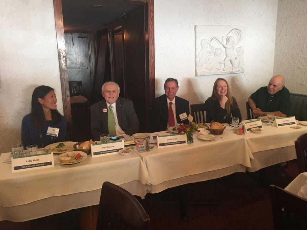 THE FIVE CANDIDATES for the Falls Church City Council faced off before the F.C. Chamber of Commerce today. Left to right: Letty Hardi, Phil Duncan, David Tarter, Johannah Barry and Sam Mabry. (Photo: News-Press)