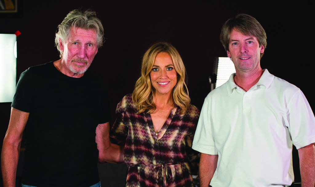 From left to right, Roger Waters of Pink Floyd, Sheryl Crow, and Jeff Jeffrey, President, Cue Recording Studios pose for a photo after Crow and Waters recorded music with veterans as part of the MusicCorps program on Sunday, October 4, 2015 at Cue Recording Studio in Falls Church, VA. MusicCorps, a non-profit organization, has been helping wounded or traumatized soldiers recover through music rehabilitation programs since 2007. Photo Credit: (Aubrey Gemignani)