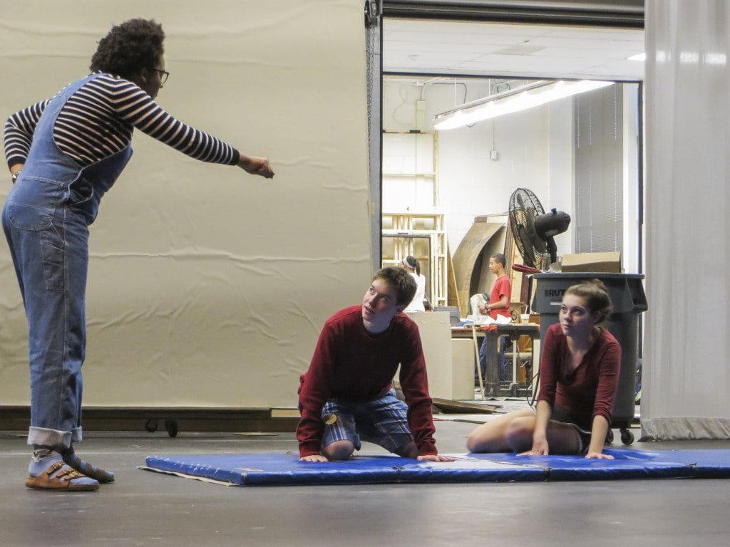"""Bella Orobaton (left), Tory Schatz (center) and Molly Stegman rehearse for Marhsall's production of """"The Twits,"""" which opens tonight. (Photo: Patricia Leslie/News-Press)"""