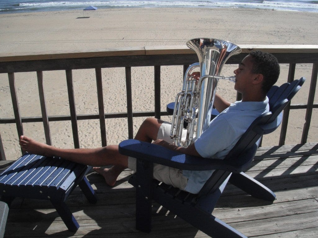 McLean resident Joe Broom, winner of a $10,000 scholarship from The Davidson Institute of Talent Development, plays his euphonium in the Outer Banks, NC. (Courtesy Photo)