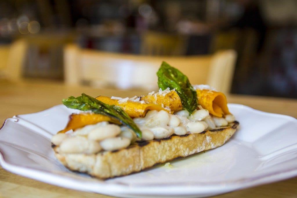 Chef Bertrand Chemel's cannellini bean bruschetta will be available on Pizzeria Orso's new menu beginning next week. (Photo: Jody Fellows)