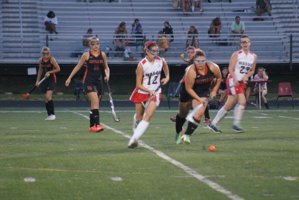 Mason sophomore midfielder Meredith Johnson chases down a ball during the Mustangs' Sept. 2 defeat of Kettle Run High School. (Photo: Carol Sly)