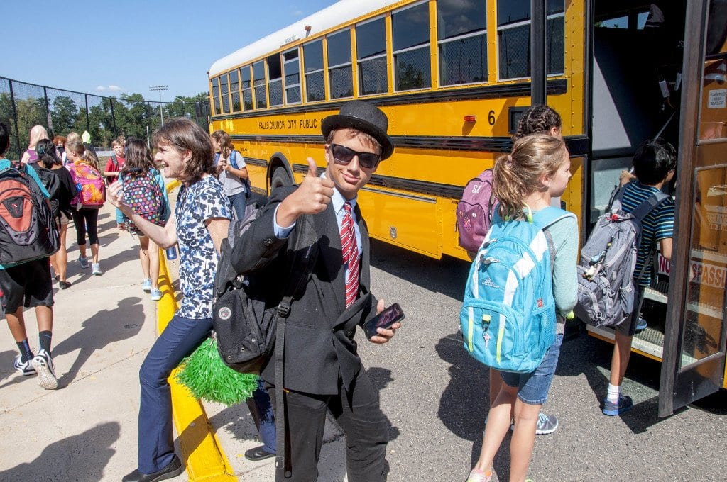 IT WAS BACK TO SCHOOL time for over 2,500 children in the City of Falls Church School System on Tuesday, as a new record enrollment was welcomed for a third straight year.  (Photo: Drew Costley)