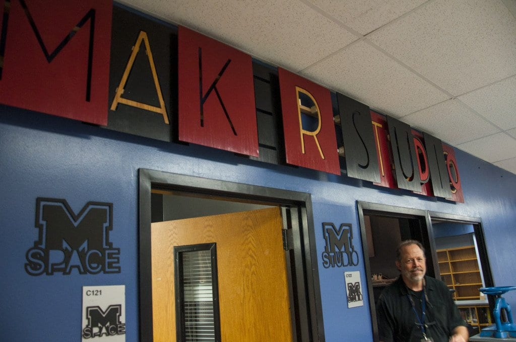 Mason teacher John Ballou goes from the M-Studio to the M-Space at the school's Makerstudio. (Photo: Drew Costley)