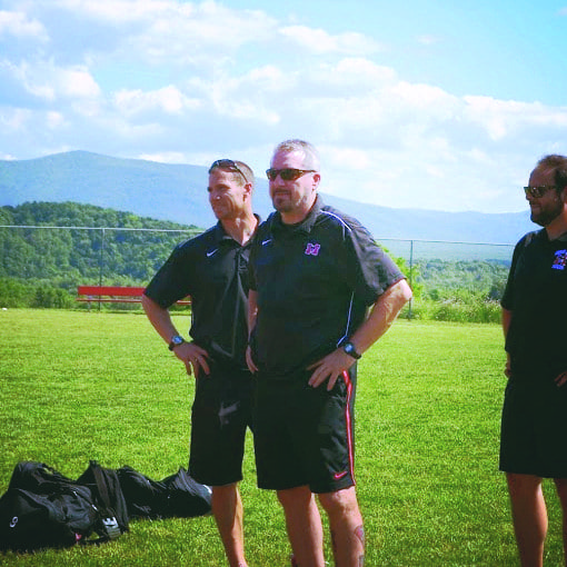 HEAD COACH FRANK SPINELLO (center) with assistant coaches Nate Grenier (left) and Bobby Penland (right). Spinello is currently up for USA Today's High School Sports' America's Best Coach honors.