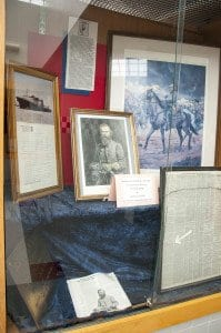 AN EXHIBIT outside of the J.EB. Start High School library displays memorabilia of the Confederate general. (Photo: Drew Costley)