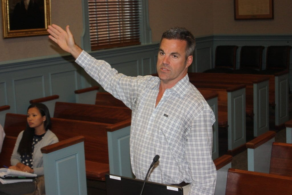 Brian Normile speaks to the F.C. Planning Commission Monday. (Photo: News-Press)