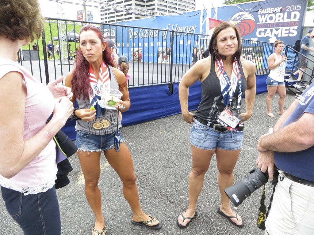 Claudia Martellino (left) and Susie Parent (right), both medal winners from Montreal, speak to the press at Lerner Town Square. (Photo: Patricia Leslie/News-Press)