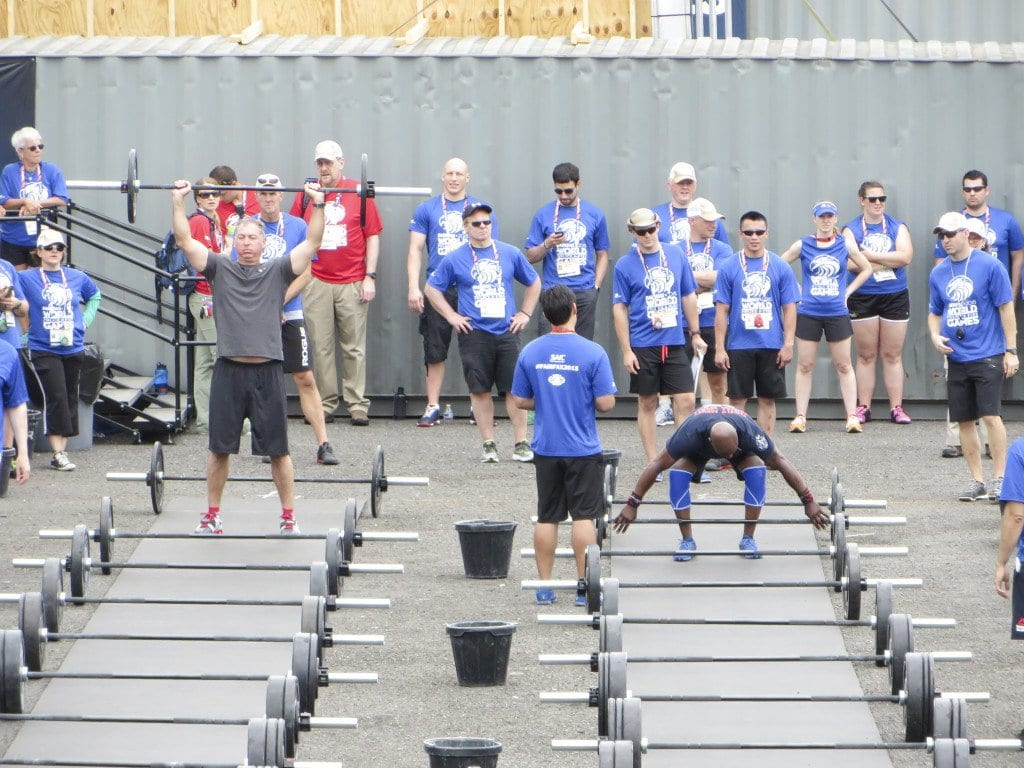 Weightlifters compete in the crossfit event at Lerner Town Square in Tysons Corner during the 2015 World Police and Fire Games. (Photo: Patricia Leslie/News-Press)
