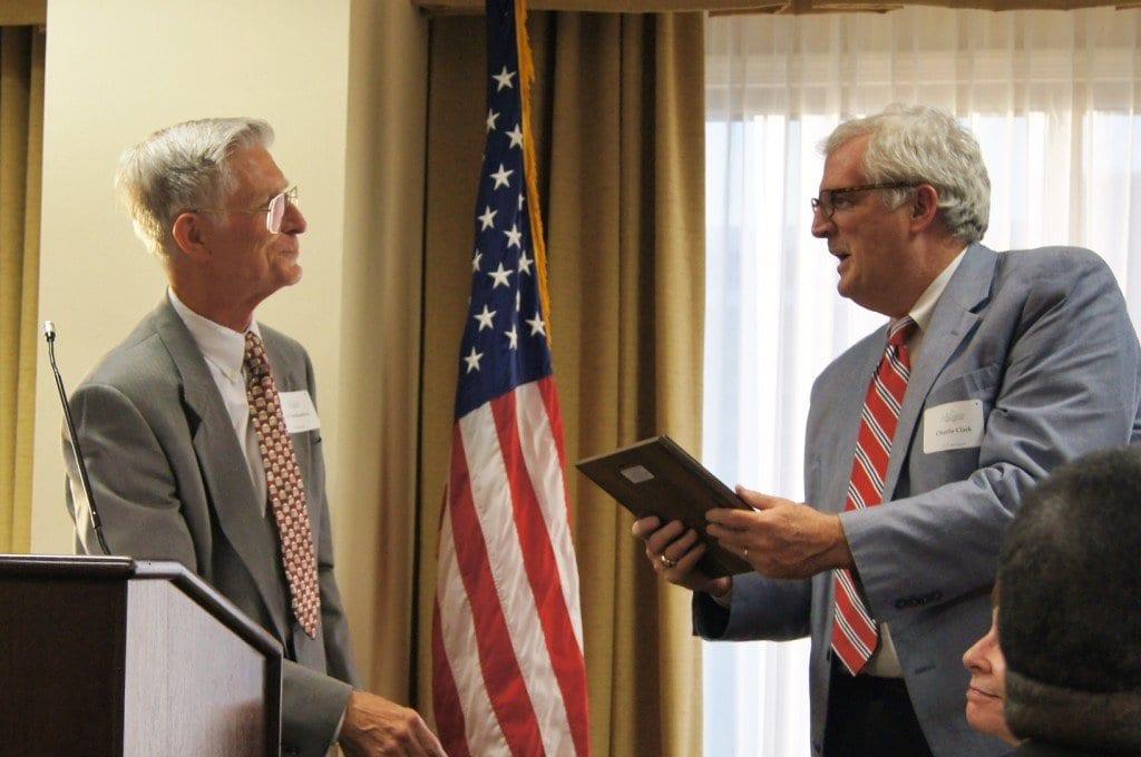News-Press columnist Charlie Clark received the Cornelia B. Rose Lifetime Achievement Award from the Arlington Historical Society on Friday night. (Photo: Courtesy of Johnathan Thomas)