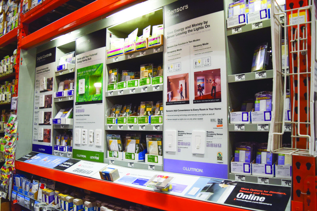 Home depot in falls church has several smart technology upgrades for homes that cost less than $300, like the motion sensor lighting systems seen in the image above, which also sense daylight and only turn on when needed. (Photo: Liz Lizama/News-Press)