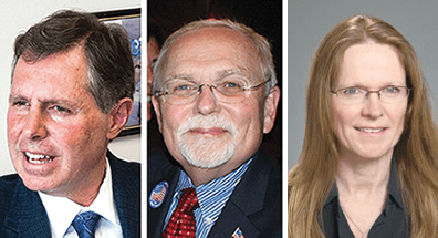 FALLS CHURCH Mayor David Tarter (left), councilmember Phil Duncan (center) and former councilmember Johannah Barry are the only ones so far to have taken steps to run in this November's Falls Church City Council election. (Photos: News-Press & Courtesy)