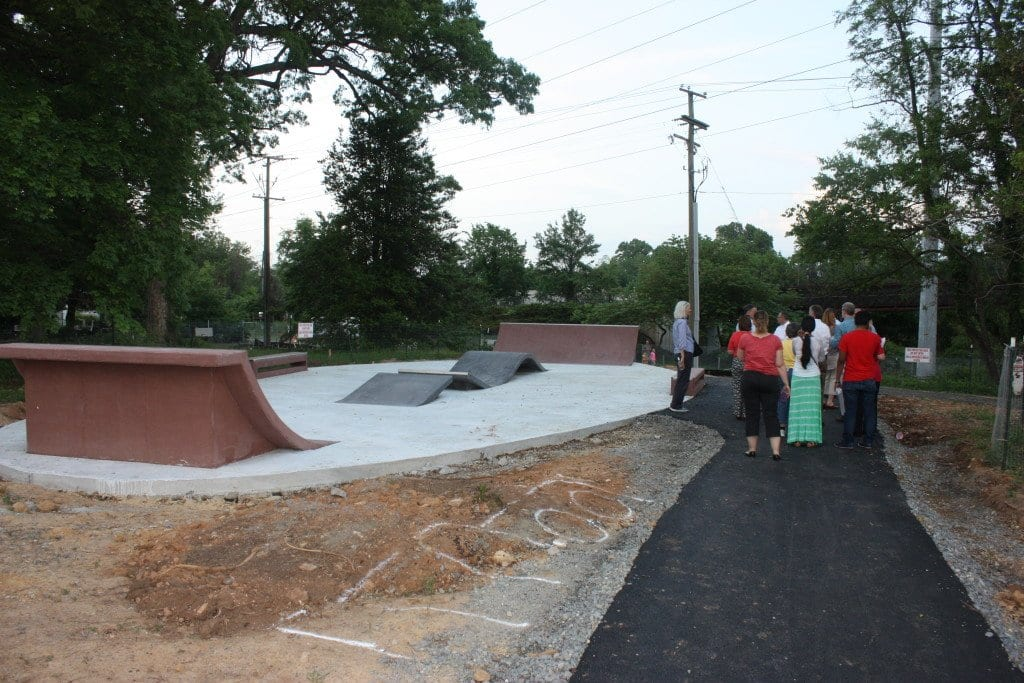 A TOUR OF the West End Park by members of the F.C. City Council and others tonight included a look at progress on the skate board park that will be part of the West End Park development. (Photo: News-Press)