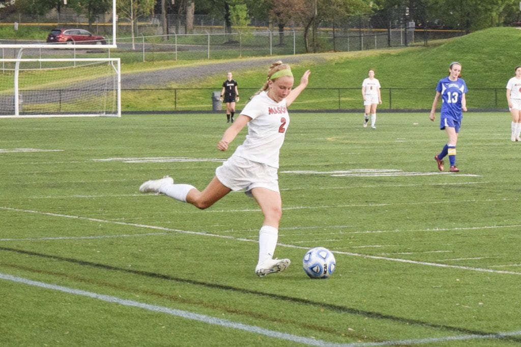 Mason freshman midfielder/forward Victoria Rund gets ready to launch a strike against Central High School during the Mustangs' 8-0 shut out of the Falcons on Tuesday. Rund had one assist in the match. (Photo: Liz Lizama/News-Press)