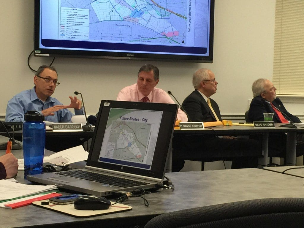 FALLS CHURCH CITY COUNCIL members, four of whom are shown here, had their hands full with two closed sessions on major development proposals and on a new comprehensive bike plan tonight at City Hall. (Photo: News-Press)