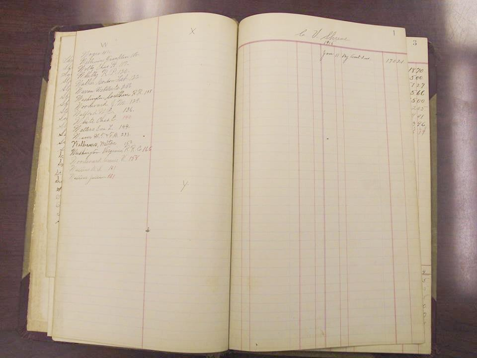 On the right side of the image is the business' first ledger entry from when it opened in 1915. (Photo: Courtesy of Shreve McGonegal)