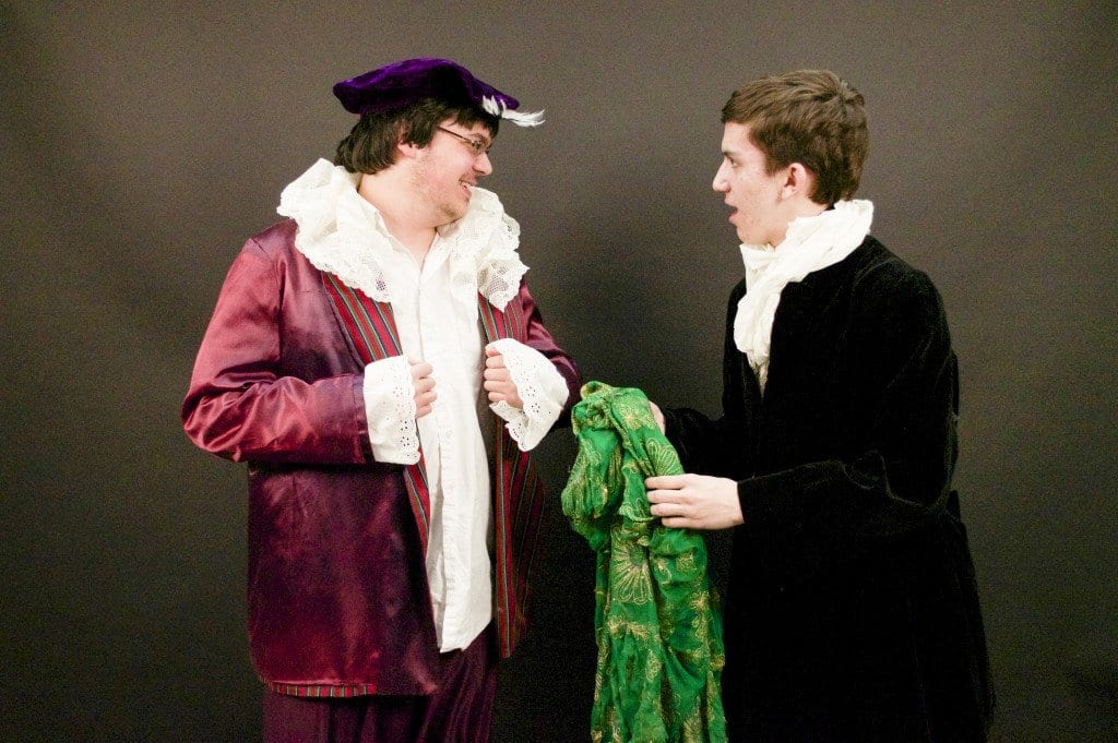 """Justin Valentino, star of George Mason High School's production of """"Bourgeois Gentleman,"""" rehearses with Peter Carr in the image above.  The play, written by Moliere, pokes fun of social climbing in 17th century Paris. Mason's production at the play opens tonight. (Photo: Courtesy of Anna Connole)"""