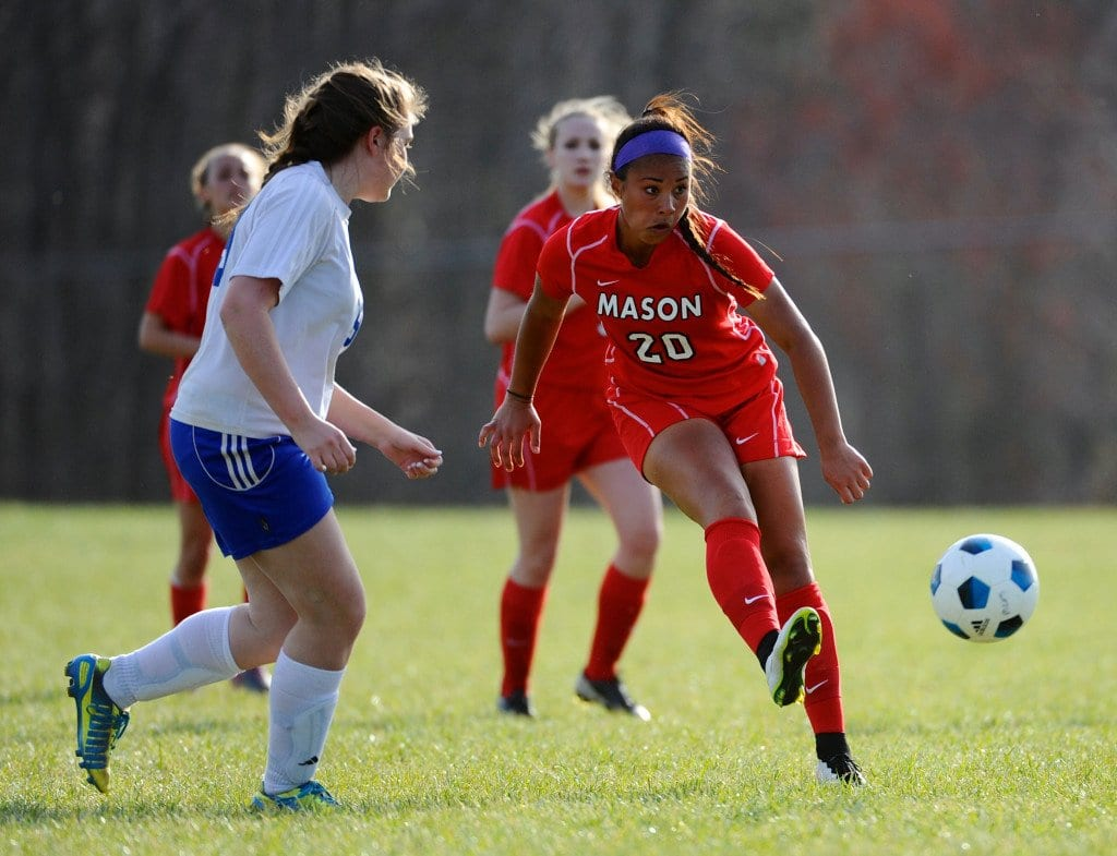 MUSTANG SOPHOMORE Rebecca crouch (#20) scored three goals in Mason's 9-0 thumping of Madison County Monday and added another in the 'Stangs 8-0 win over Manassas Park Tuesday. (Photo: Brad Mills)