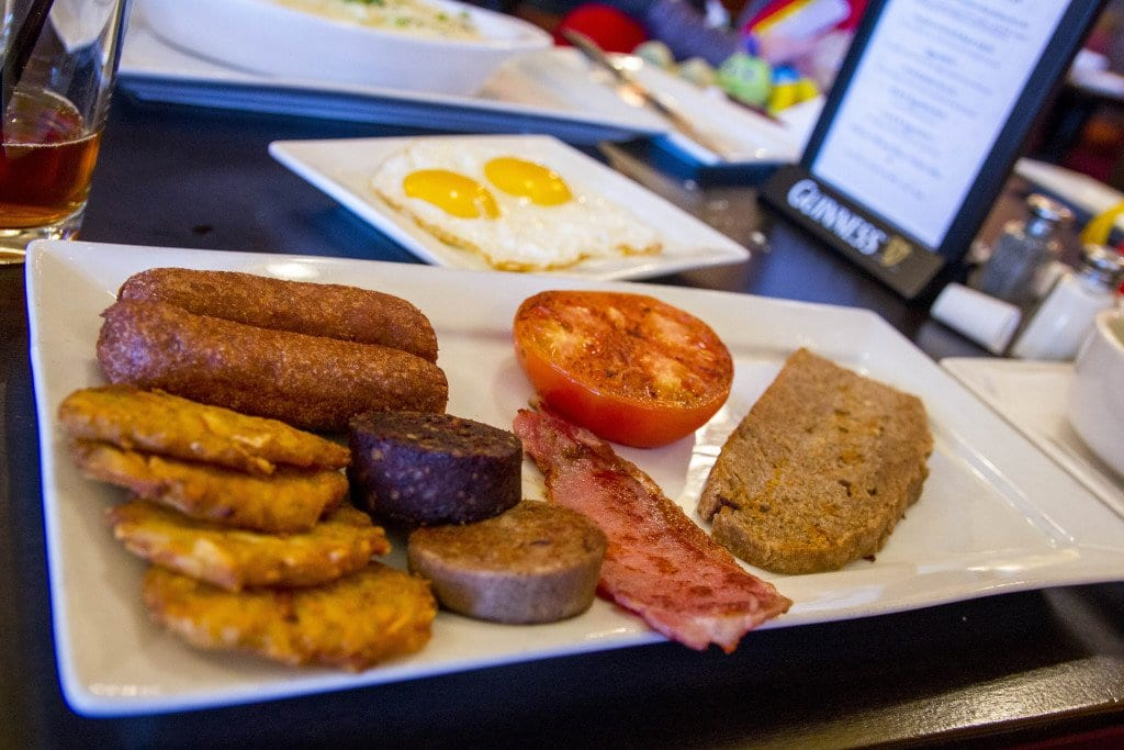 Irish breakfast with the requisite eggs, bangers, black and white pudding, rashers and tomato is available all day. (Photo: Jody Fellows)