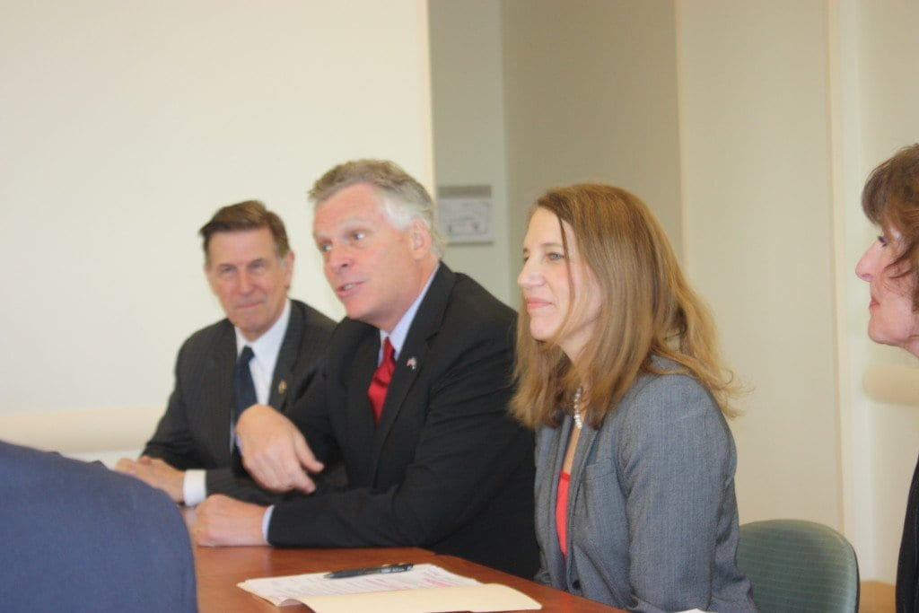 U.S. Rep. Donald S. Beyer Jr. (left), Virginia Gov. Terry McAuliffe (center) and U.S. Health and Human Services Secretary Sylvia Burwell (right) led a conversation and celebration of the fifth anniversary of the Affordable Care Act at the Arlington Mill Community Center on Columbia Pike Monday. (Photo: News-Press)