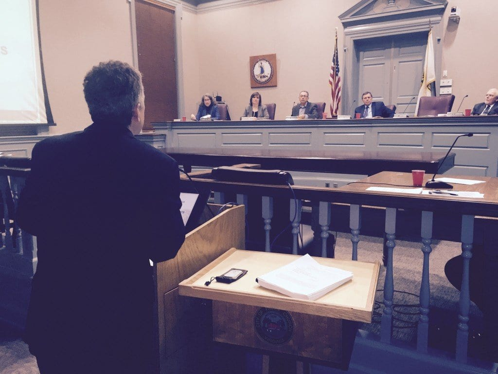 Falls Church City Manager presenting his budget to the City Council Monday night. (Photo: News-Press)