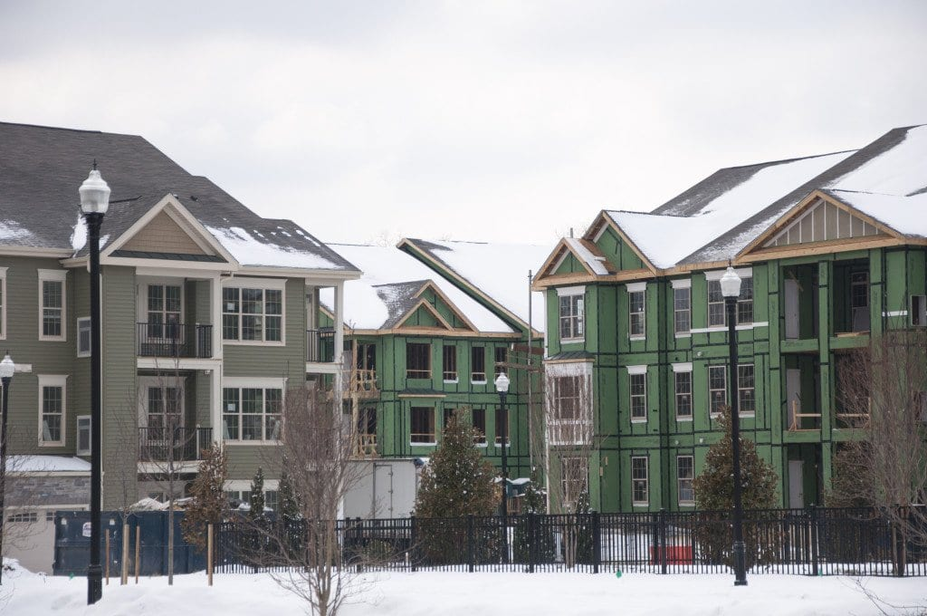AVALONBay's FALLS CHURCH location, on the edge of Falls Church City,  is one of several developments under construction that uses engineered wood and lightweight construction materials. Another of AvalonBay's development's in Edgewater, N.J., which also uses engineered wood, was destroyed in a January fire. (Photos: Drew Costley/News-Press)
